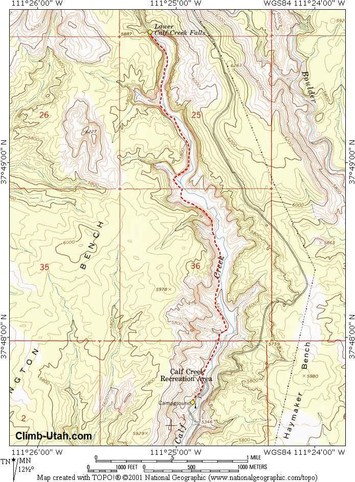 Lower Calf Creek Falls Grand Staircase Escalante National - Calf map
