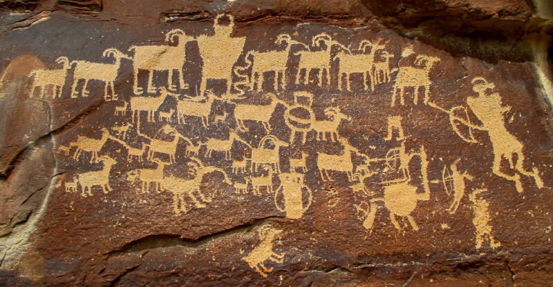 Hunters Petroglyph Panel - Nine Mile Canyon