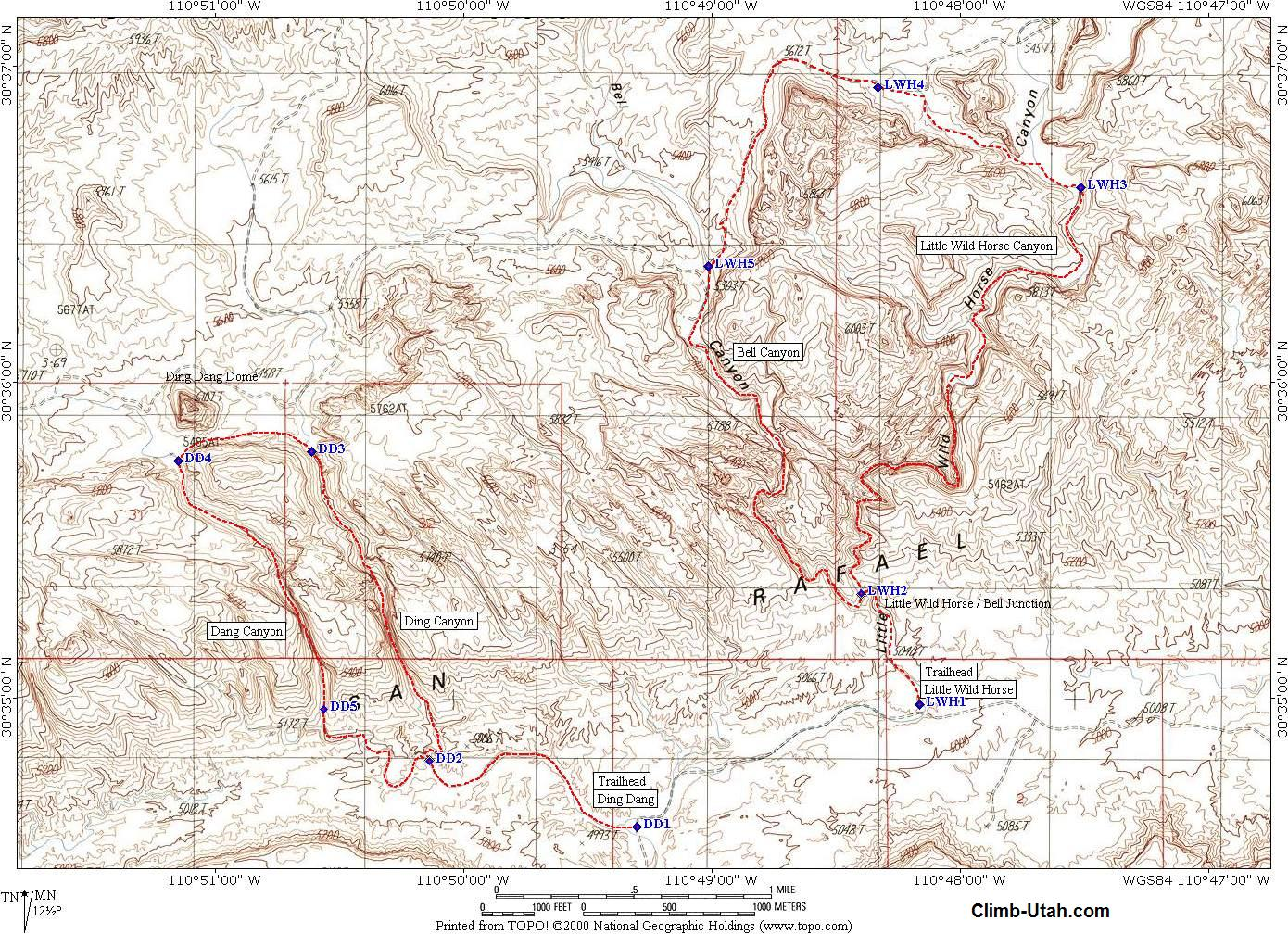 Short Creek Utah Map.Little Wild Horse Bell Canyon San Rafael Swell