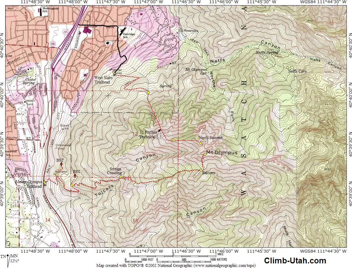 Mount Olympus Wasatch Mountains Hiking - Olympus map